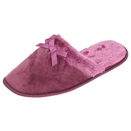 Slippers Purple Fur Ladies SlumberzzZ Slider Faux Bow Womens w1w7YS