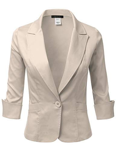 DRESSIS Women's Roll Up Sleeve Single Buttoned Blazer Jacket KHAKI 1XL (Womens Suit Tall)