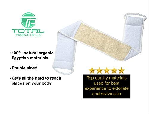 Back Natural - Total Products - Exfoliating Natural Loofah Back Scrubber, Deep Clean, Double Sided, 100% Natural Egyptian Materials