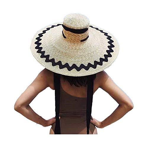 (JJLIKER Womens Sun Straw Hat Oversized Wide Brim Summer Hat Foldable Roll up Floppy Beach Hats Cap Packable for Travel)