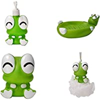 FunBlast (Set of 4) Bathroom Accessories for Kids Includes Soap Holder, Bathing Ball, Toothbrush Holder and Lotion Dispenser (Frog)