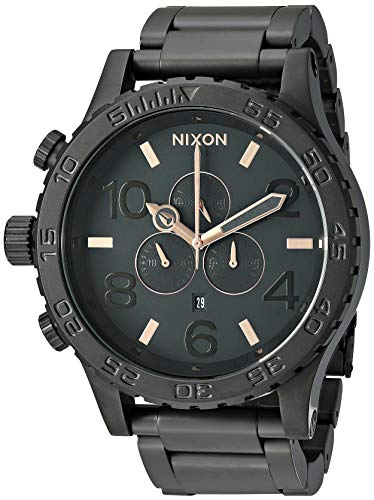 NIXON 51-30 Chrono A095 - All Black/Rose Gold - 312M Water Resistant Men's Analog Fashion Watch (51mm Watch Face, 25mm Stainless Steel Band)