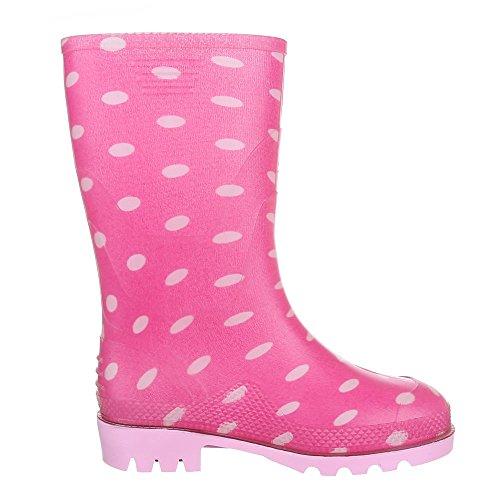 Ital-Design Kinder Schuhe, GST-K902, Stiefel Mädchen Jungen Gummi Regenstiefel Pink