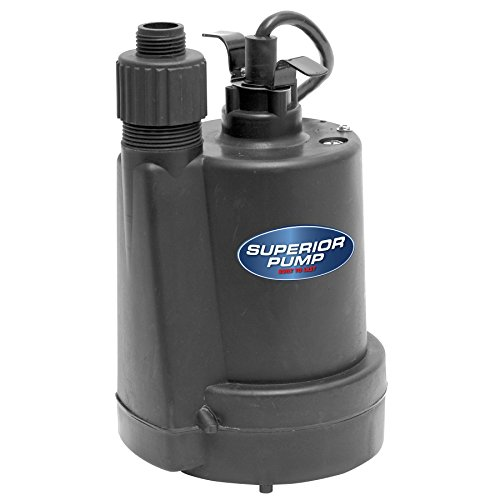Superior Pump 91250 1/4 HP Thermoplastic Submersible Utility Pump with 10-Foot Cord by Superior Pump