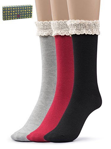 Black And Red Ruffle Socks - Silky Toes Women's Vintage Thick Warm Winter Casual Boot Socks with Lace -3 Pk With Optional Gift Box (Black, Grey, Red- Lace Trim- Gift Box)