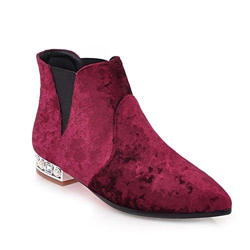 Kaloosh Women's Low Heel Ankle Chelsea Suede Boots With Pearl Rhinestone Heel. Wine Red