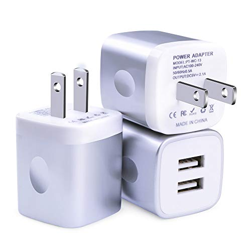 USB Wall Charger, FiveBox 3Pack Dual Port 2.1A Wall Charger Base Brick Block Charging Cube Plug Phone Charger Box Compatible iPhone Xs Max/XR/X/8/7/6/6s, iPad, Samsung Galaxy S9 S8 S7 S6, Android, LG