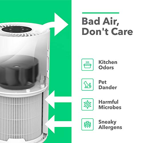 Vremi Air Purifier with True HEPA Filter - for Medium to Large Rooms up to 300 Sq Ft - 3 Stage Filtration Odor Eliminator for Allergies Pollen Smoke Dust or Pets Dander - Quiet with Night Light
