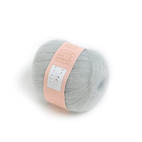 Evday Smooth Soft Knitting Yarn Natural Mohair Wool Light Grey