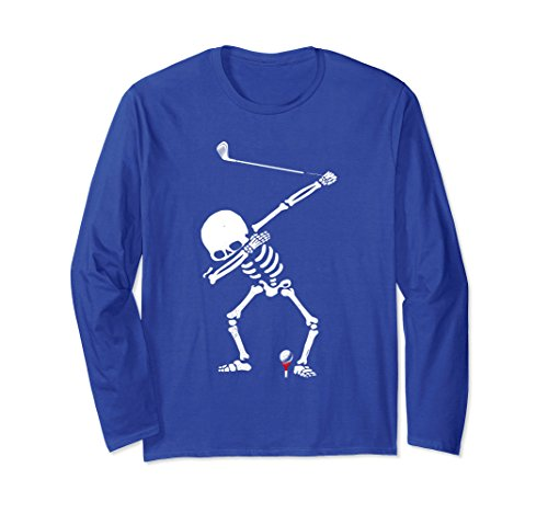 Unisex Dabbing Golf Skeleton! Funny Golfer Long Sleeve T-Shirt Medium Royal - Golfer Long Sleeve T-shirt