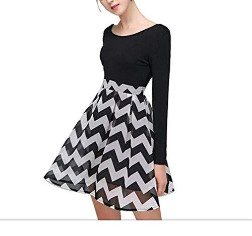 Otprdirect Femmes Taille Haute Halter imprim Jupe en Mousseline de Soie Dos Nu lgante Robe temprament (Color : Black, Size : L) Black