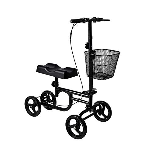 Give Me Knee Scooter Steerable Knee Walker Deluxe Crutch Alternative Dual Braking System in Black