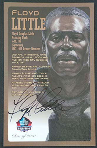 Pro Football Hall of Fame Floyd Little Signed NFL Bronze Bust Set Autographed Card with COA (Limited Edition # of 150)