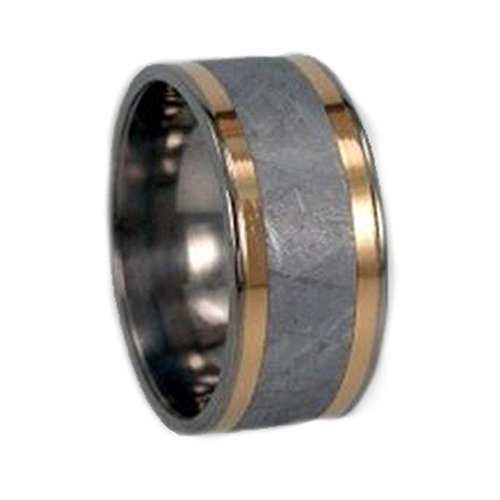 18k Yellow Gold, Gibeon Meteorite 10mm Comfort-Fit Titanium Band, Size 6 by The Men's Jewelry Store (Unisex Jewelry)