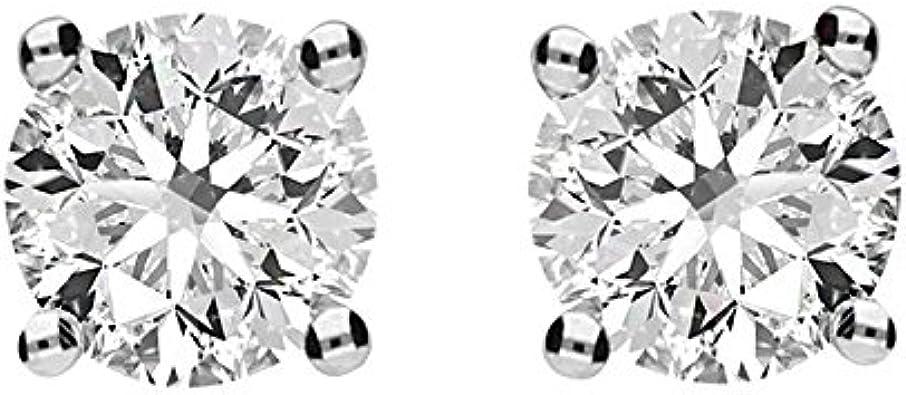 Timeless Brilliant® 3.80ct DEW Round Moissanite Stud Earrings in 14K White Gold