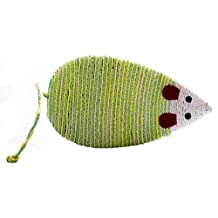 PurrToys 1Pc Sisal Rope Mouse Shape Cat/kitty/Kitten Scratcher Scratch Board Scratching Pad Post Pet Animal Play Funny Toy (Green&Yellow)