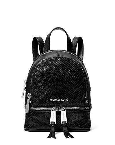 MICHAEL Michael Kors Rhea Mini Python-Embossed Leather Backpack in Black