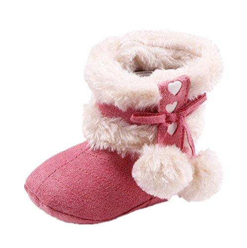 Mantenga Suela Auxma Bebé Bebé Suave De Nieve Rosa Niña Botas Oscuro Zapatos Cálida qrr0tx