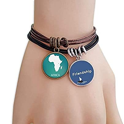 ProDIY Africa Continent Outline Silhouette Map Friendship Bracelet Leather Rope Wristband Couple Set Estimated Price -