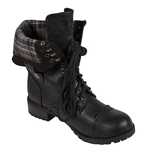 Soda Frauen Oracle Lace-up Combat Gefaltete Manschette Riding Mid-Calf Stiefel Schwarz-