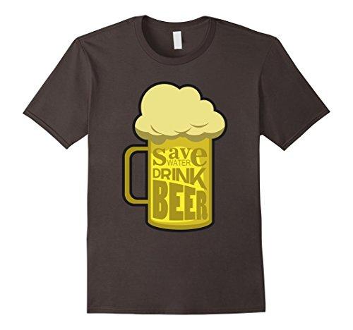 Mens Save Water Drink Beer T-Shirt - Novelty Funny Beers T-Shirts 2XL Asphalt (Spirit Halloween Beer Pong)