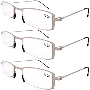 Eyekepper 3-Pack Unique Lightweight Stainless Steel Frame Cheap Reading Glasses For Men and Women Silver +1.5