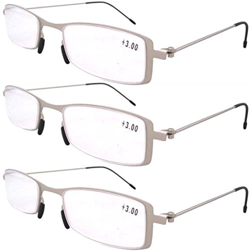 Eyekepper 3-Pack Unique Lightweight Stainless Steel Frame Cheap Reading Glasses For Men and Women Silver - For Frames Glasses Women Cheap