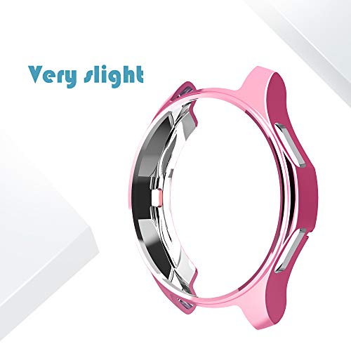 for Samsung Gear S3 Frontier & Classic/Galaxy Watch 46mm TPU Plated Case, Soft Scractch-Resistant Frame Cover Slim Shiny Plated TPU Case All-Around Protective Bumper Shell (Pink, 46mm) (Samsung S3 Case Pink)