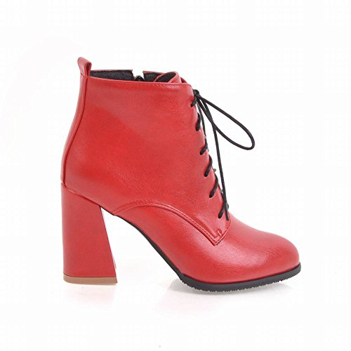 Latasa Womens Lace-up Block Heel Ankle Boots Red egDdD15