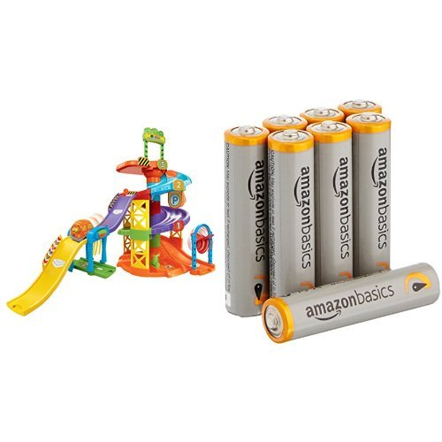 VTech Go! Go! Smart Wheels Spinning Spiral Tower Playset with Amazon Basics AAA Batteries Bundle