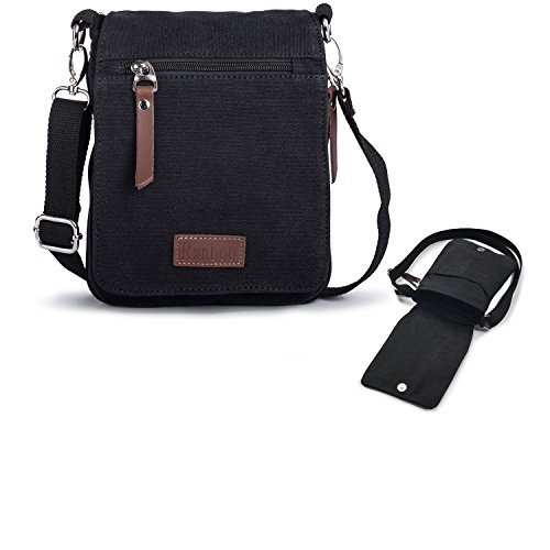 Ranboo Cross-body Messenger Bag Casual Shoulder Bags Mans Satchel for Travel Hiking Work Cellphone Purse Crossbody Men Belt Pouch Holster Small Carrying Bag Day Packs with Zipper Outdoor Sports Black