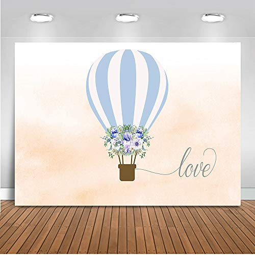 Mocsicka Hot Air Balloon Backdrop 7x5ft Baby Shower Flower Love Photo Backdrops Valentine's Day Happy Birthday Theme Photography Background ()