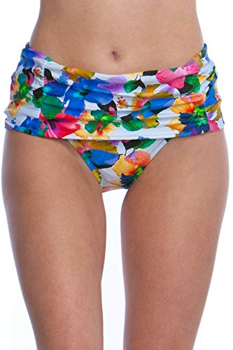 Nanette Lepore Women's Wide Band Hipster Bikini Swimsuit Bottom, White//Technicolor Tropical, 4