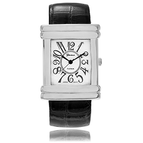 Geneva Platinum Croc Skin Stamped Bangle Antique Watch