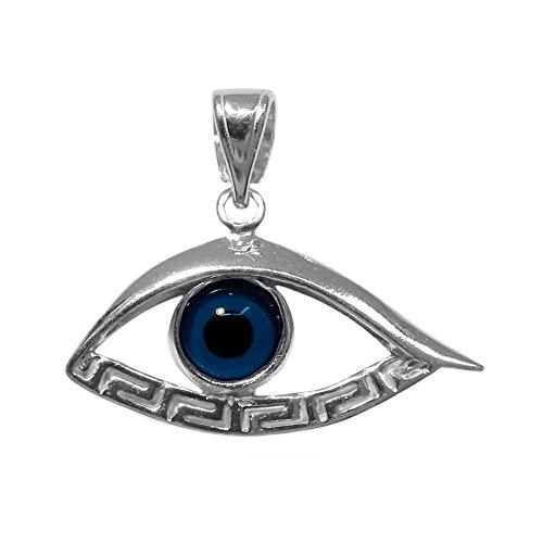 - Sterling Silver Greek Key Evil Eye Meandros Pendant