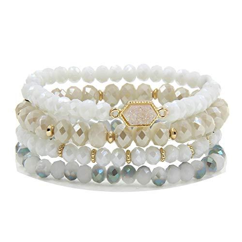 YUJIAXU Gold Beaded Bracelet Set, Square Stone Hexagon Druzy Stretch Beaded Stackable Bracelets Bangles (Iridescent -