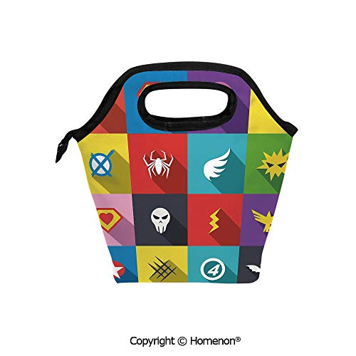 Insulated Neoprene Soft Lunch Bag Tote Handbag lunchbox,3d prited with Retro Superhero Badge Patchwork Style Several Logo Signs Comic Humor,For School work Office Kids Lunch Box & Food Container