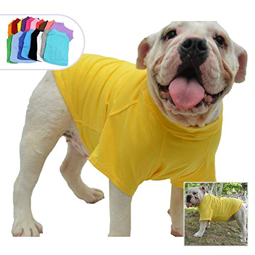(Lovelonglong Bulldog Clothes Dog Clothing Blank T-Shirt Tee Shirts for French Bulldog English Bulldog American Pit Bull Pugs 100% Cotton Skin Care Yellow B-M)