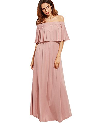 (Milumia Women's Off The Shoulder Layered Ruffle Dress Large Pink)