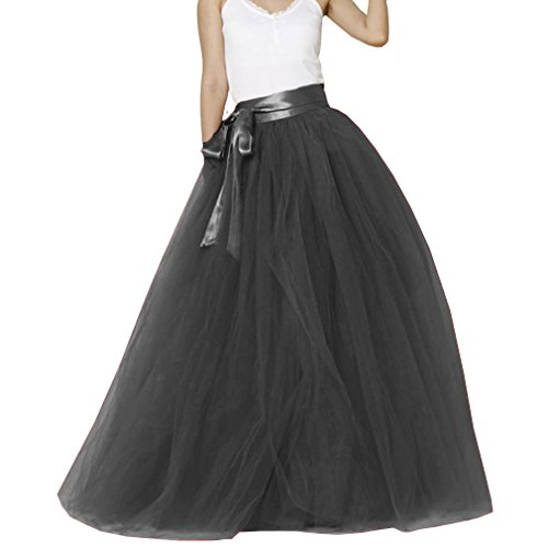 Lisong Women Floor Length Bowknot Tulle Party Evening Skirt 14 US Black