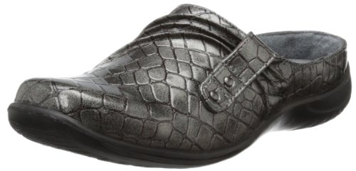 Easy Street Women's Holly Mule,Pewter Patent Croco,11 M US Embossed Print Clogs
