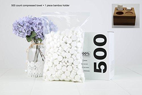 Comprimido Toalla de 24x 24cm, 500unidades + 1pieza última intervensión bambú soporte comprimido toalla mágica servilleta portátil de pañuelos toallitas 500unidades