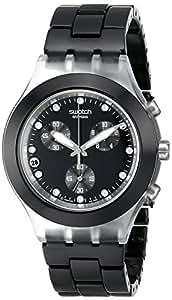 Swatch SVCK4035AG - Reloj cronógrafo de cuarzo para mujer con correa de aluminio, color negro