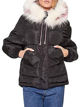 Zandiceno Women's Winter Warm Down Coats Puffer Parkas Hooded Jackets Black 10
