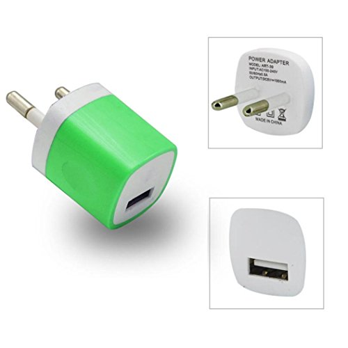 Mchoice USB Power Adapter EU Plug Wall Travel Charger for iphone for Samsung for LG G5 (Green)