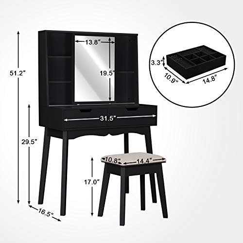 Vanity Table Set with Mirror and Makeup Organizer Dressing Table,2 Large Drawers with Sliding Rails,Storage Shelves,Jewelry Box,Cushioned Stool,Makeup Vanity Desk