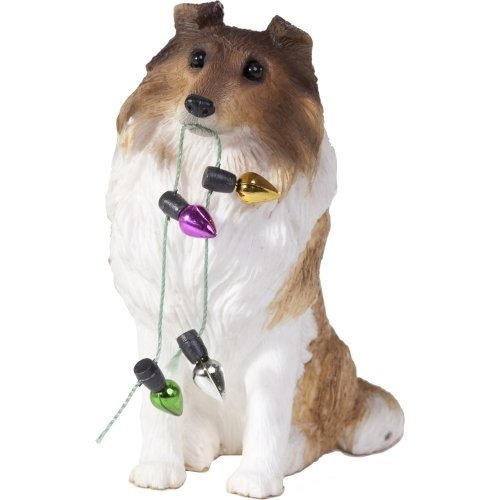 Sandicast Sable Collie Holding Holiday Lights Christmas Ornament (Sable Collie Figurine)