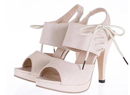 YCMDM Sandali con tacco impermeabili SCARPE DONNA Grandi Dimensioni Scarpe Sandali , beige , 35