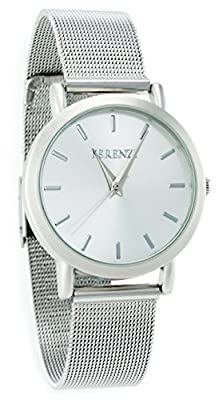 Ferenzi Unisex | Classic Silver Face Watch with Modern Silver Stainless Steel Mesh Band | FZ15101