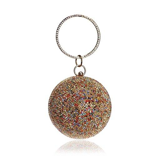 1 Diamantes color Multicolor grow De Mujer Noche Suave Bolso Para Sky Bandolera Clutch 2 Redondo 8xO7qPdw